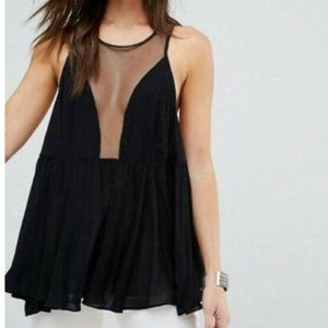 Free people plunging neckline black blouse mesh M